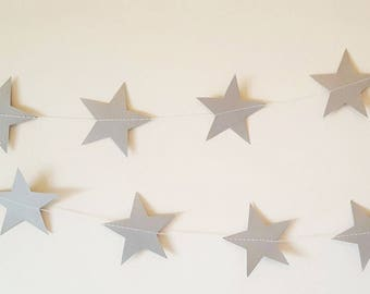 Silver Star Garland, Silver Paper Garland, Silver Star Garland, Silver Wedding Garland, Silver Party Decorations