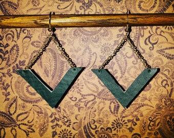 Geometric Dark Green Dangle Earrings - Lightweight Vinyl and Chain