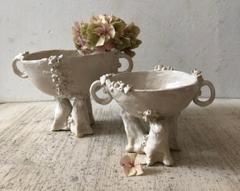 SAMPLE AND SECONDS, handmade ceramic bowls, with handles and lion pedestal, white ceramic footed bowls