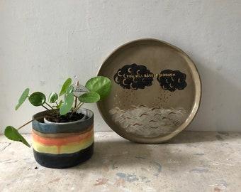 Stripy stoneware planter , ceramic tumbler, ceramic planter, handmade plant pot, stripey ceramic tumbler, dark blue/yellow/orange pots