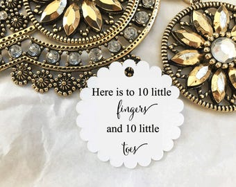 Gift Tags Bomboniere Baby Shower Favour Round 10 Fingers and 10 little toes Nail polish tag