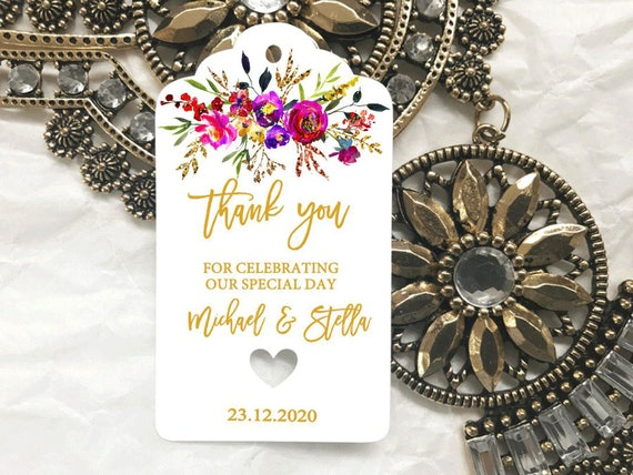 10 White Gift Tags Bomboniere Birthday Wedding Favour Hen Personalised Thank you