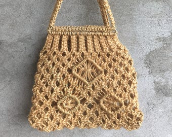 70s MACRAME TOTE BAG, market bag, beach bag, macrame purse, shopping bag, onion bag, Braided Grocery Shopping bag, Handmade, organic
