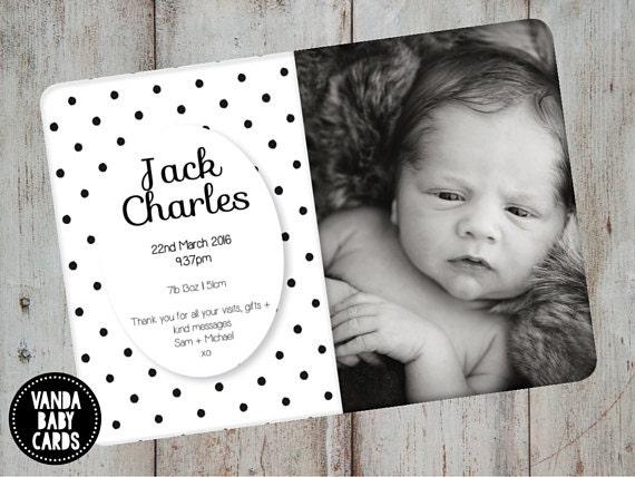 Birth Announcement Baby Announcement Thank You Card Baby Etsy