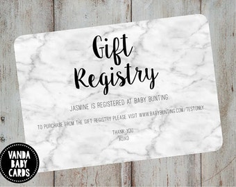 Gift Registry Card - Invitation Insert - Marble Invites - Gift Card Insert - Wishing Well Card - Party Stationary - Baby Shower Insert