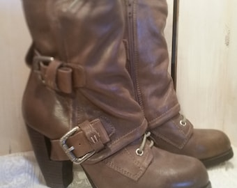 Drab Military Goth Industrial Miz Mooz Lace Up Boots size 8