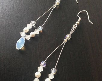 Bridal earrings or evening swarovski white and clear