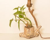 Antique WeiRD Gold Metallic Iron Metal Tree Trunk Lamp Folk Art Planter Base Earthen FREE SHIPPING U.S.A.