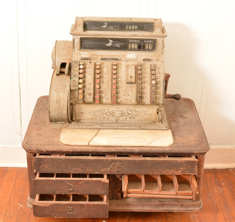 1909 National Cash Register Model 452 Brass Inoperable For Restoration or  Parts