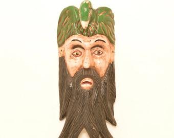 Vintage Carved Wood Mask Man w/ Long Beard Parrot Head Tribal Weird Earthen Folk Art; FREE Shipping U.S.A.
