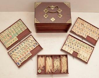 Vintage Mahjong Bone Bamboo Tile Game Set Wooden Box Drawers Asian Zen Dresser; FREE SHIPPING USA