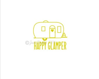 Vinyl Decal - Glamping Decal - Happy Glamper - Happy Camper - Vintage Camper - Camper Decal - Girly Camping Decal - Cooler Decal