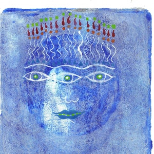 blue moon art blue gold art original art blue moon print woman moon blue art mother moon doll