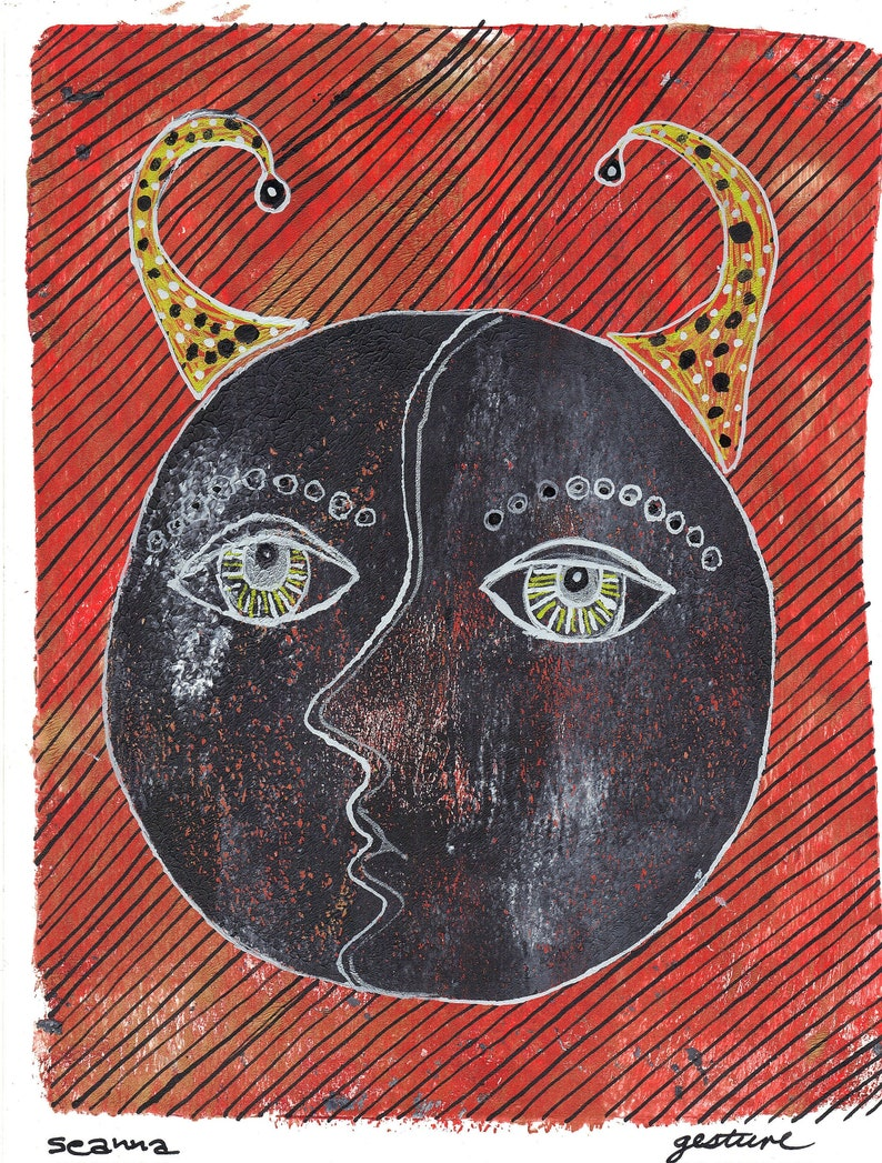 devil woman monoprint orange grey print original art green orange print horned woman print devil face monotype gesture