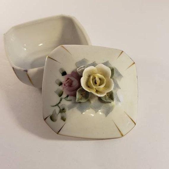 Ceramic Miniature Oil Lamp  Ucagco Japan Ceramics  Purple Flowers and Gold Trim
