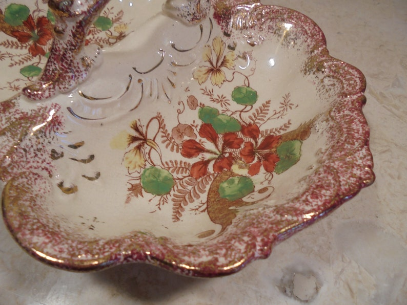 Antique Double Sided Handled Serving Dish Lobster Bowl Butterfly Shaped Dish Red Floral Motif Red Luster Ware Trim Deep Textured Scallops