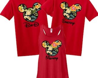 Disney Mickey and Minnie Hawaii Luau Family Vacation T-Shirt Flowy Tank Disnyland Shirt, Disney Cruise