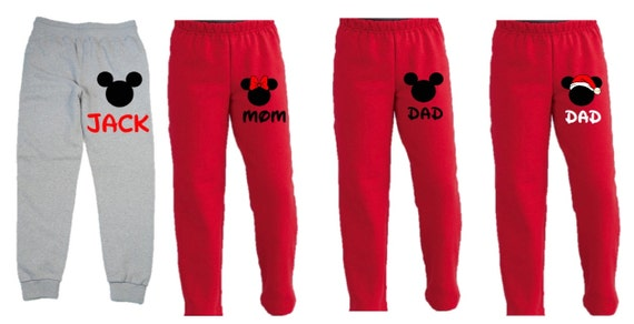3d29fc4e06197 Disney Mickey and Minnie Sweatpants Family Vacation Christmas