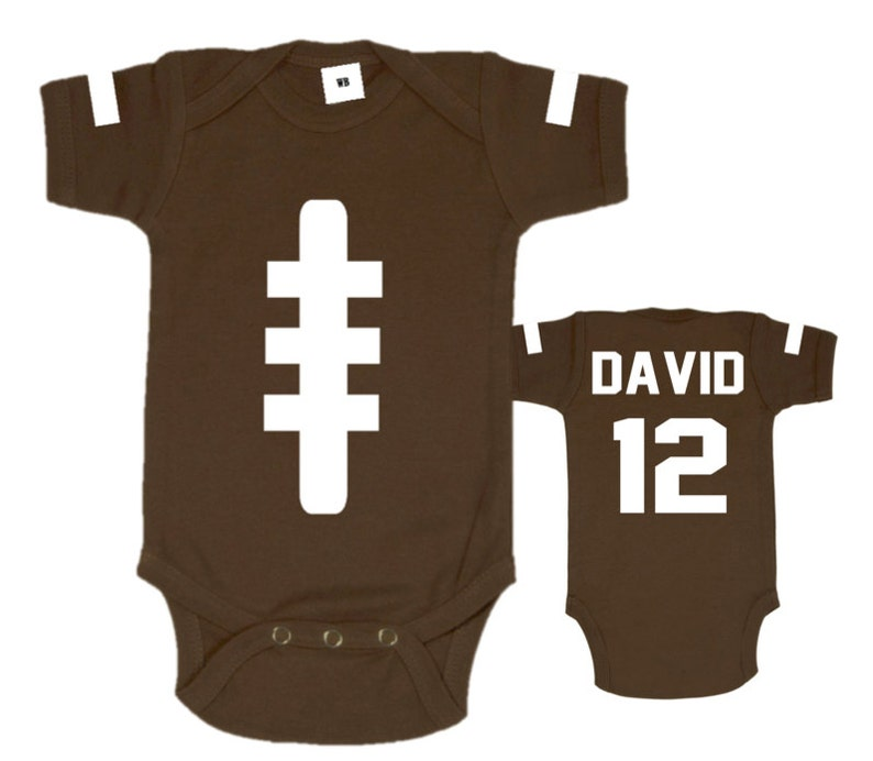 8e1357d20253 Baby Football Bodysuit Game Day Brown Sports Shirt