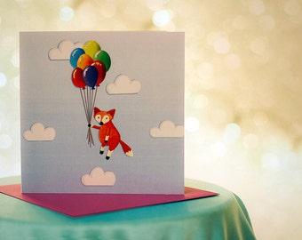 Foxy Balloons - Birthday Card