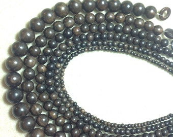 Tiger Ebony 10 mm round wood beads