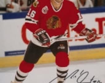86d287fe995 Michel Goulet Signed Blackhawks 8x10 Photo Inscribed