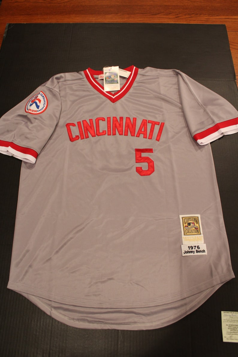 new arrival 34a6c 93c77 Johnny Bench Autographed Cooperstown Collection Jersey HOF '89, ROY 68  Cincinnati Reds, Certificate of Auth, BiCentenial Patch