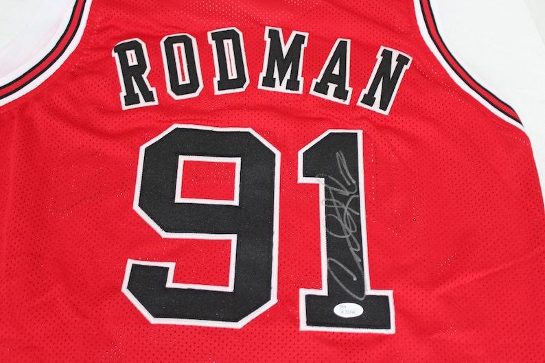 d9ddba4c3 Dennis Rodman Signed Bulls Size XL Basketball Jersey JSA