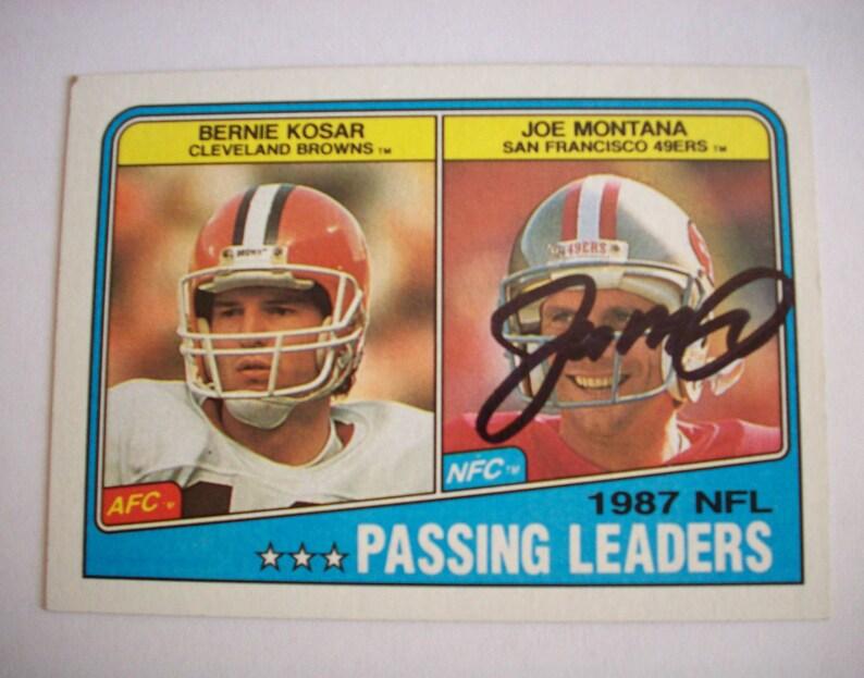 da2842a8846 Joe Montana Autographed 1987 Topps NFL Passing Leaders   Etsy