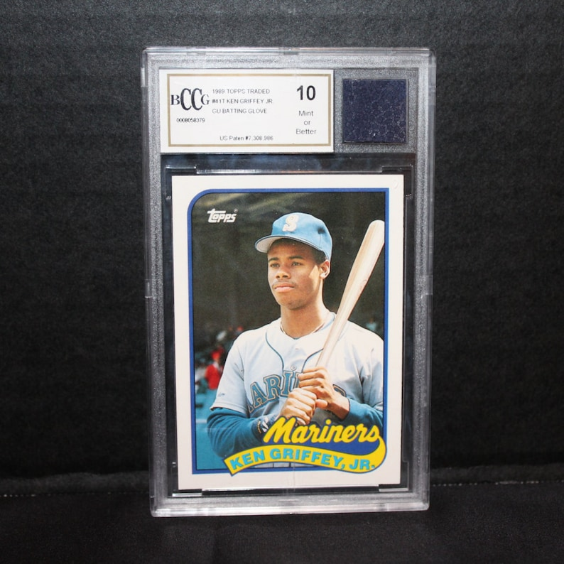 1989 Topps Traded 41t Ken Griffey Jr Rookie Card With Game Used Batting Glove Piece In Encasement Bccg 10 Authenticated