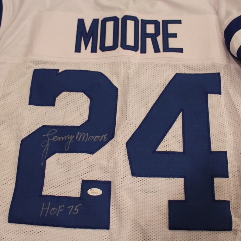 43f984efcaf Lenny Moore Autographed Colts Jersey Inscribed HOF