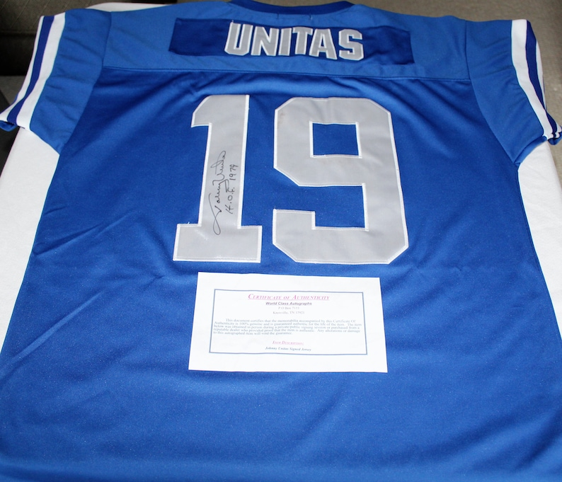new styles 83df7 6f3f6 Johnny Unitas Autographed Colts Mitchell & Ness Size 52 Throwback Jersey  Inscribed
