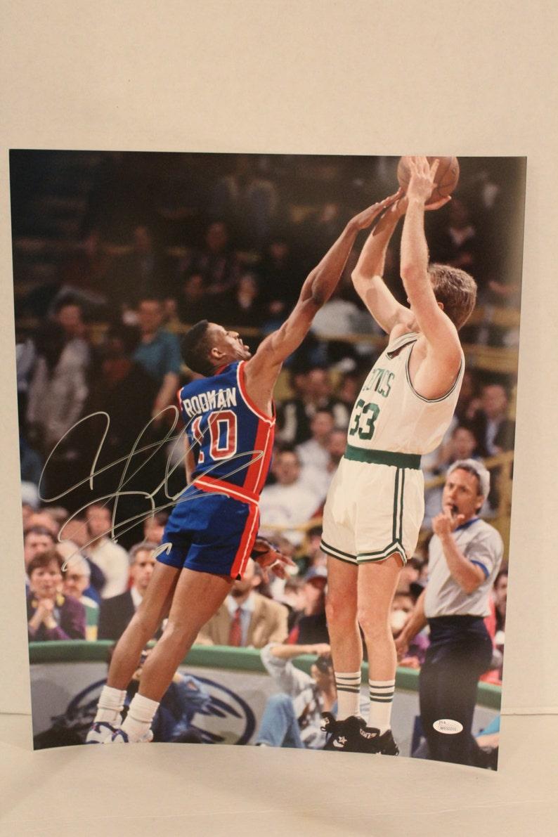 best service c43b3 2d1a2 Dennis Rodman Autographed Pistons 16x20 Photo vs. Larry Bird, Color  Photograph (Schwartz COA), Detroit Pistons, Autographed, Authenticated