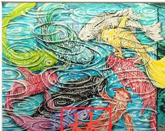 """5x7 w/ Mat (overall size 8x10) Feng Shui """"Nine Fish"""" by Debbie Lim  *FREE SHIPPING on ALL Prints!*"""