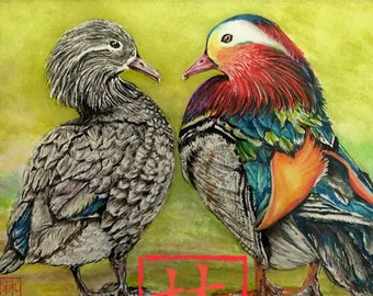 """5x7 w/ Mat (Overall Size 8x10) Feng Shui """"Mandarin Ducks"""" by Debbie Lim - FREE SHIPPING on ALL Prints!*"""