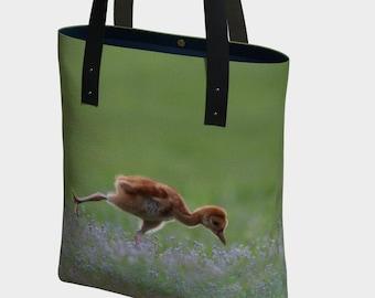 Baby Crane in Warrior 3 Pose Tote Bag by Debbie Lim