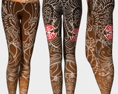 Brown Dragon Yoga Pants D...