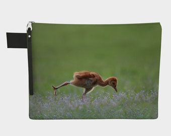 Baby Crane in Warrior 3 Pose Zipper Carry-All - by Debbie Lim