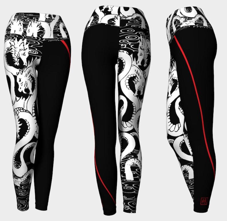 Ein Bein Design Weiße Drachen Wred Line Yoga Pants Art Von Etsy