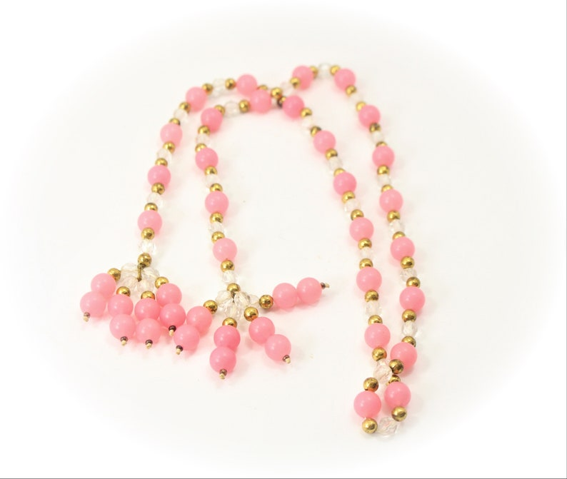 Vintage Jewelry Statement Necklace Pink Clear Bead Tassel Necklace Unique Necklace Item CB 100922