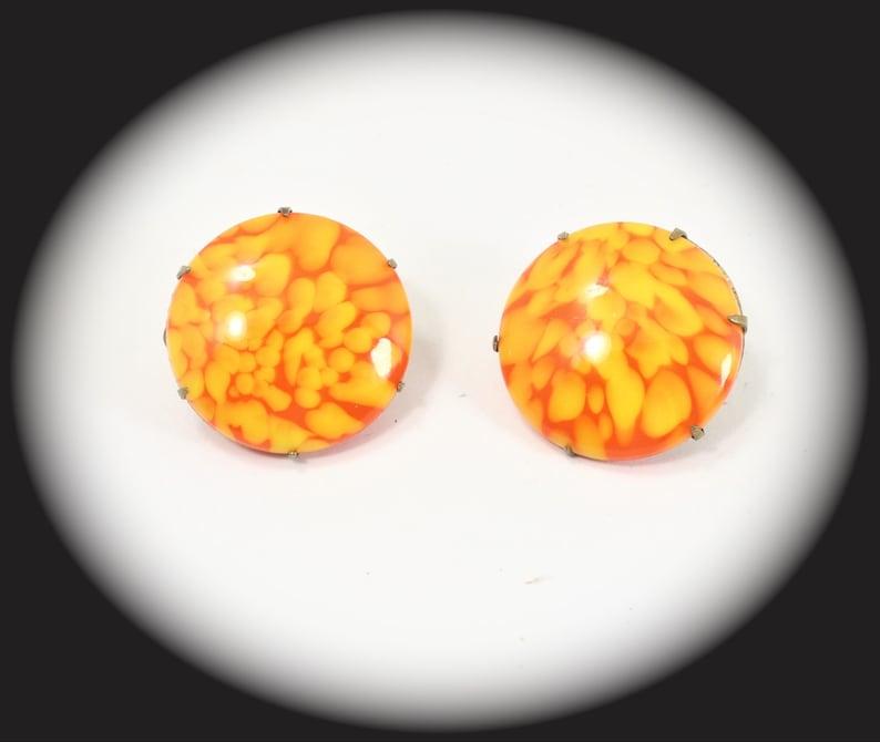 Unique Clip On Earrings Orange Glass Clip On  Earrings Statement Earrings Item CB 100446