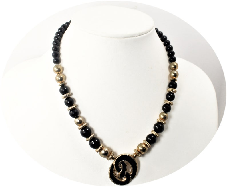 Vintage Jewelry Necklace Womans Black Gold Bead Necklace Vintage 80/'s Necklace  Item CB 100413