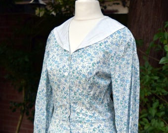 Dreamy Romantic Vintage Ditsy Floral 1970s Cotton Tea Dress With Sailor Collar by ORIGIN WW2 Landgirl Gatsby Liberty