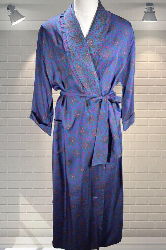 Vintage Ladies 1940s Paisley Rayon Housecoat Dress