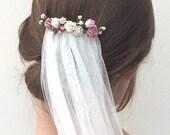 Wedding veil, veil, soft veil, flower veil, bridal flower, ivory veil, draping veil, bohemian veil, boho veil, cathedral veil, fingertip
