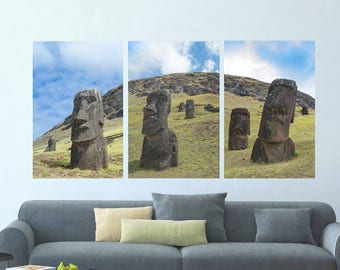 Moai Triptych    Easter Island, Chile ~ Moai, statue, carving, bird man, Ahu Tongariki, Rapa Nui, Rano Raraku, Polynesia, stone,
