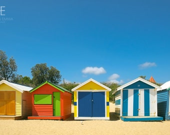 Brighton Beach   Melbourne, Australia ~ Nature, Ocean, Beach, Nautical, Changing Houses, Colorful photography, Art Print, Primary Colors