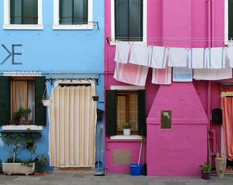 Burano Pinks & Blues   Burano, Venice, Italy ~ Colorful houses, clothes line, row houses, fishing town, pink, blue, Tropical, Caribbean ,