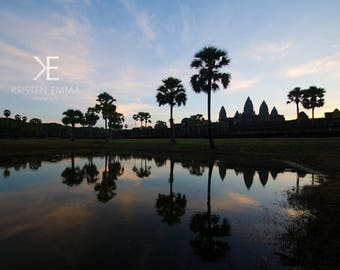 Angkor at Sunrise I   Siem Reap, Cambodia~ Temple, ancient, hindu, architecture, silhouette, blue sky, sunrise, reflection, Angkor wat,