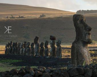 Golden Hour at Tongariki   Easter Island, Chile~ Moai, statue, carving, bird man, Ahu Tongariki, Rapa Nui, Rano Raraku, Polynesia, stone